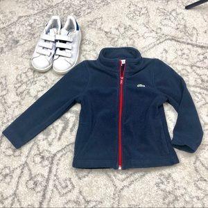 84a2215d527b Lacoste Boys Fleece zip up navy size 4 EUC